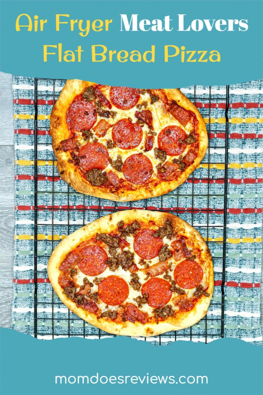 Easy Air Fryer Meat Lovers Flat Bread Pizza  #Recipe #easypizza #airfryerrecipe