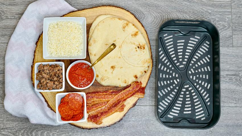 Air Fryer Meat Lovers Flat Bread Pizza ingredients needed