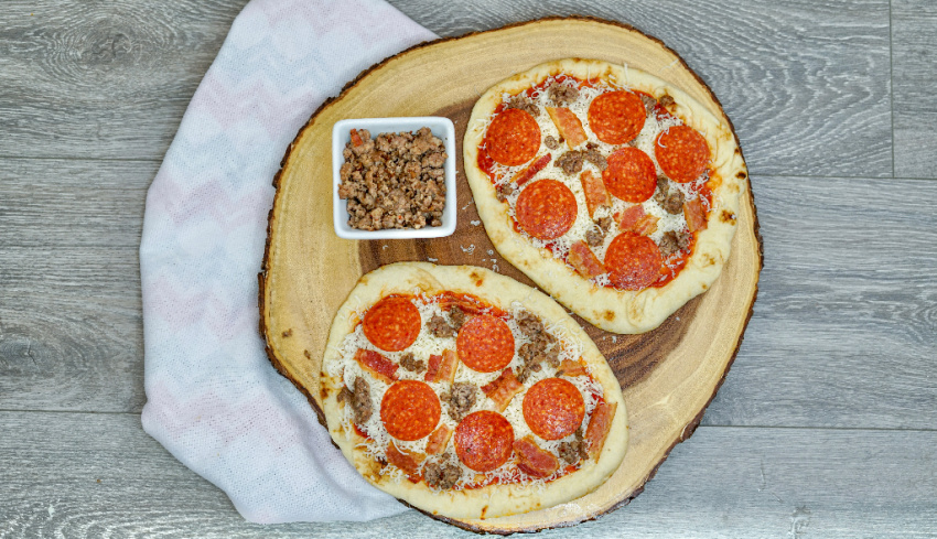 Air Fryer Meat Lovers Flat Bread Pizza process