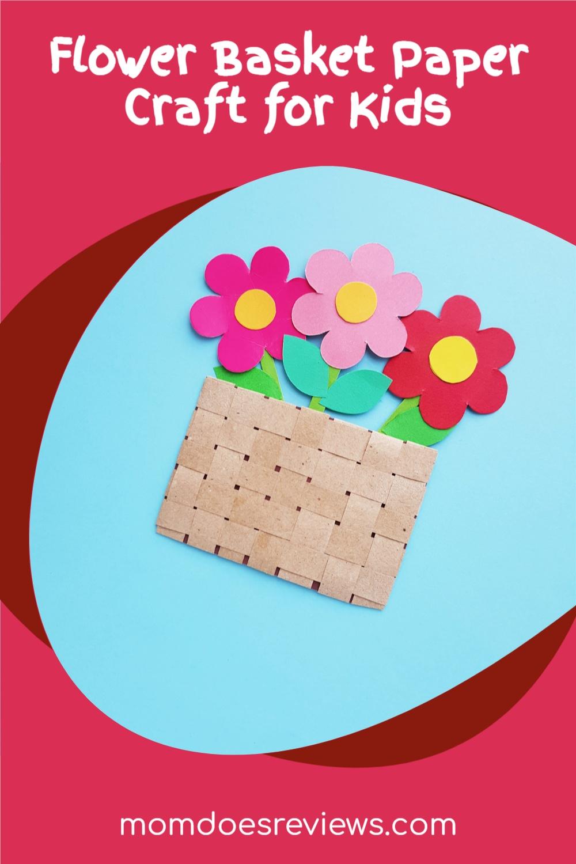 Flower Basket Paper Craft for Kids #papercraft #flowercraft #springfun
