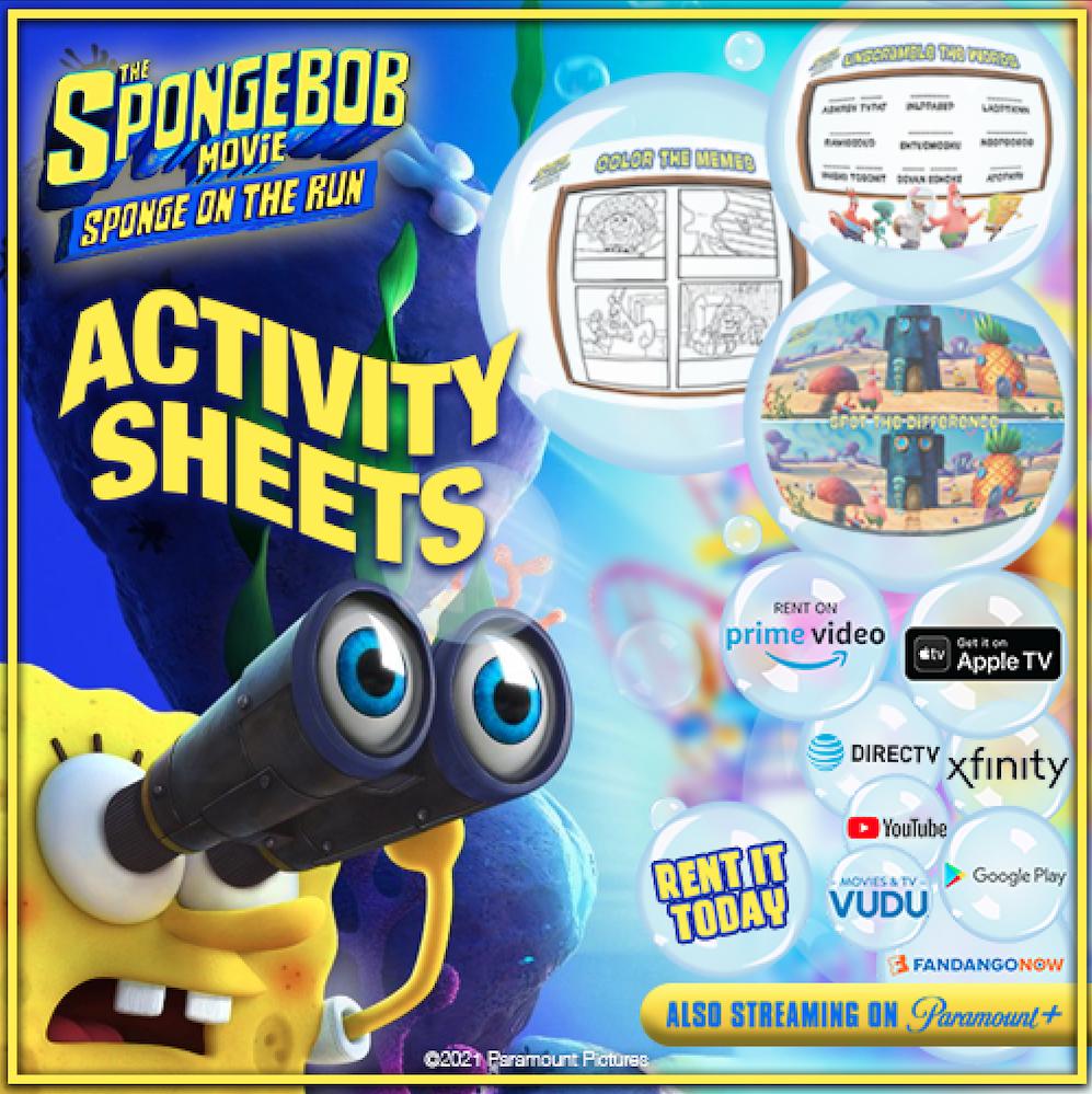 New Activity Sheets: The SpongeBob Movie: Sponge On The Run
