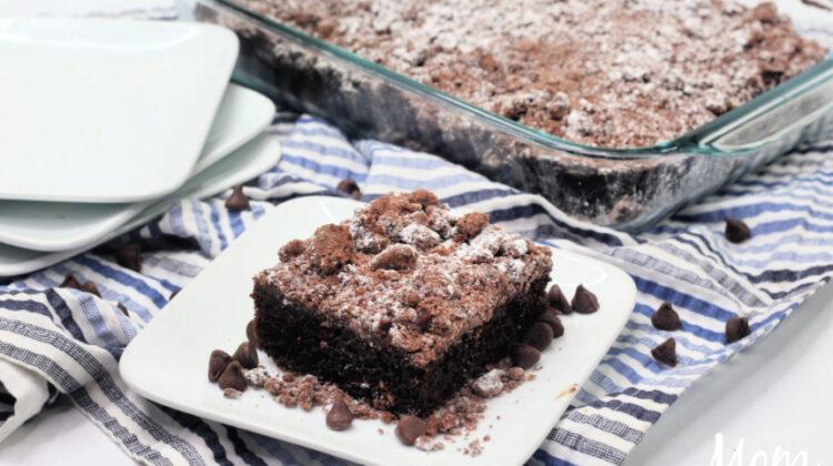DoubleChocolateCrumbleCake #recipe #chocolatecake #chocolatelovers