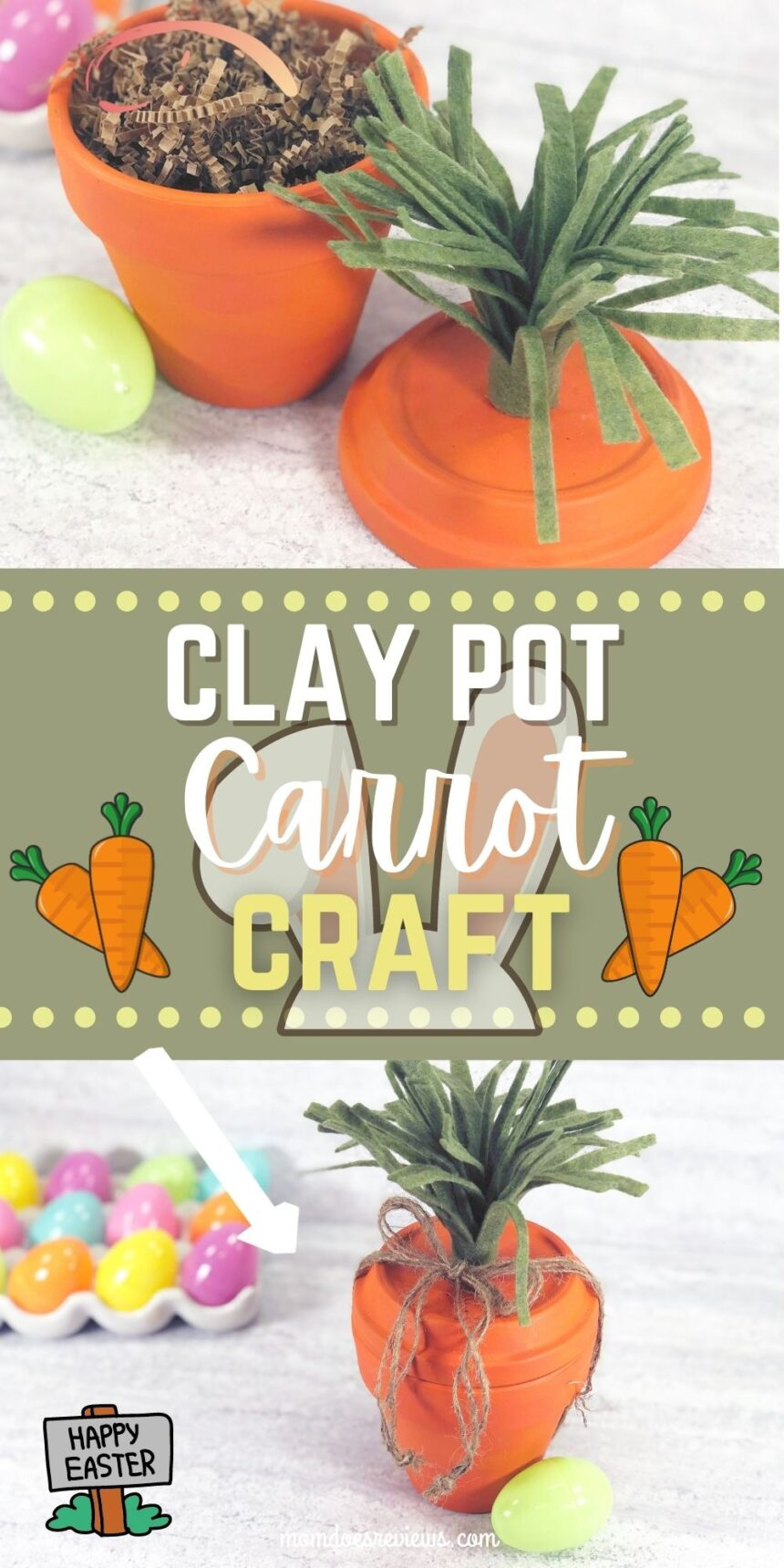 Clay Pot Carrot Craft for Easter Fun #crafts #eastercraft