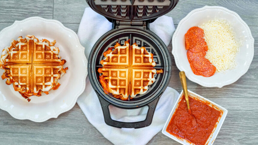 Easy 4-Ingredient Waffle Pizza Sandwiches