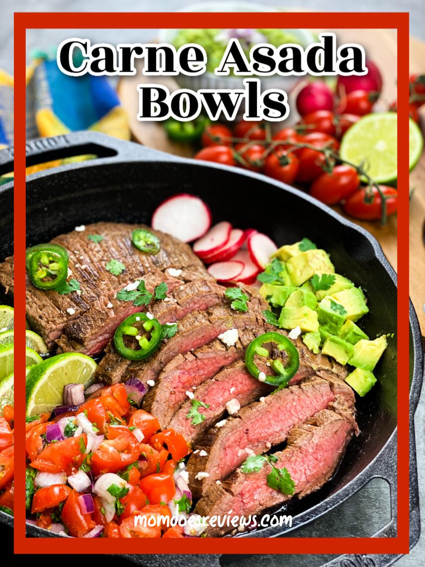 Carne Asada Bowls- 20 Minute Cast Iron Skillet Meal! #recipe #carneasad #familymeals