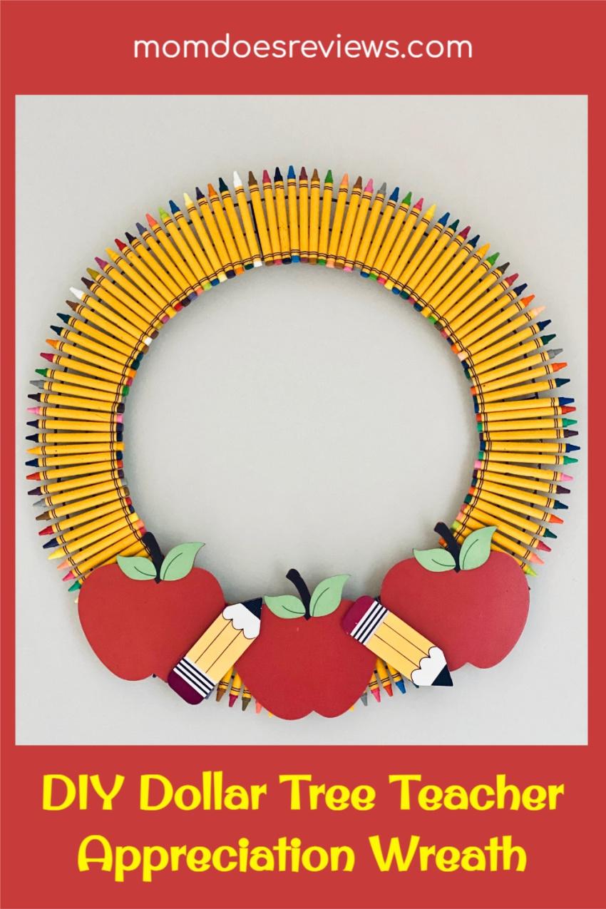 DIY Dollar Tree Teacher Appreciation Wreath #craft #teacherappreciation #dollarstorecraft