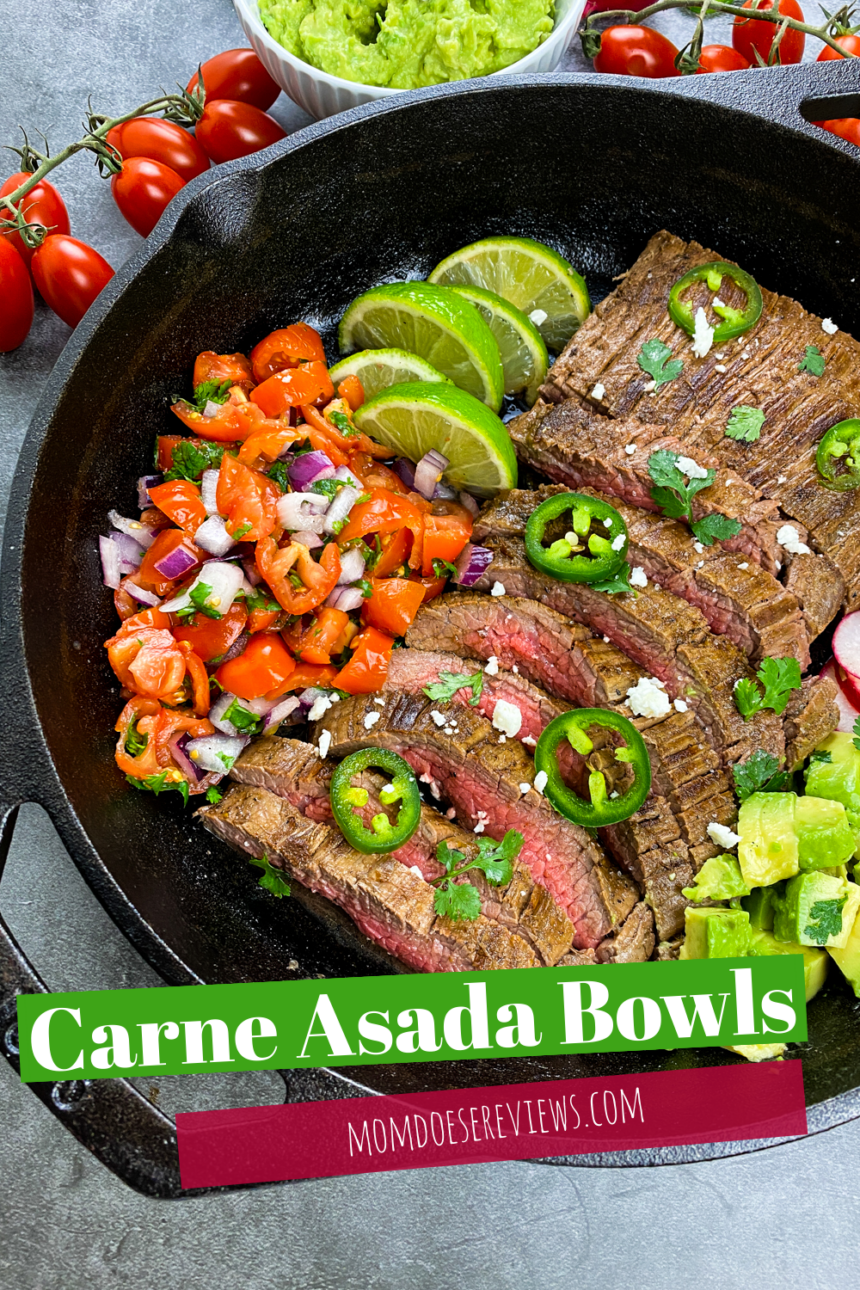 Carne Asada Bowls- 20 Minute Cast Iron Skillet Meal! #recipe