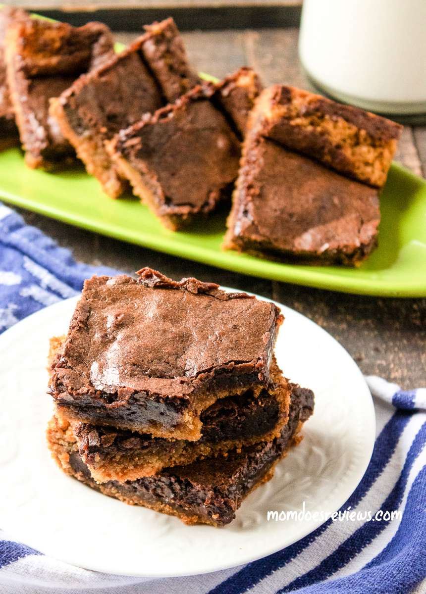 Chocolate Peanut Butter Layered Brownies #recipe #chocolatelovers #peanutbutter