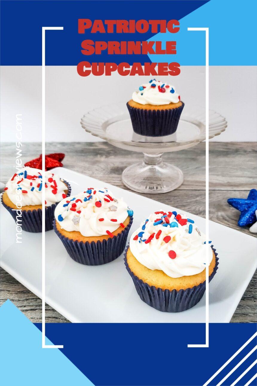 Red, White & Blue Sprinkle Explosion Cupcakes #funcupcakes #redwhiteblue #desserts