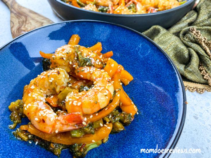Spicy Honey Garlic Shrimp & Broccoli Skillet- 30 Minute Meal