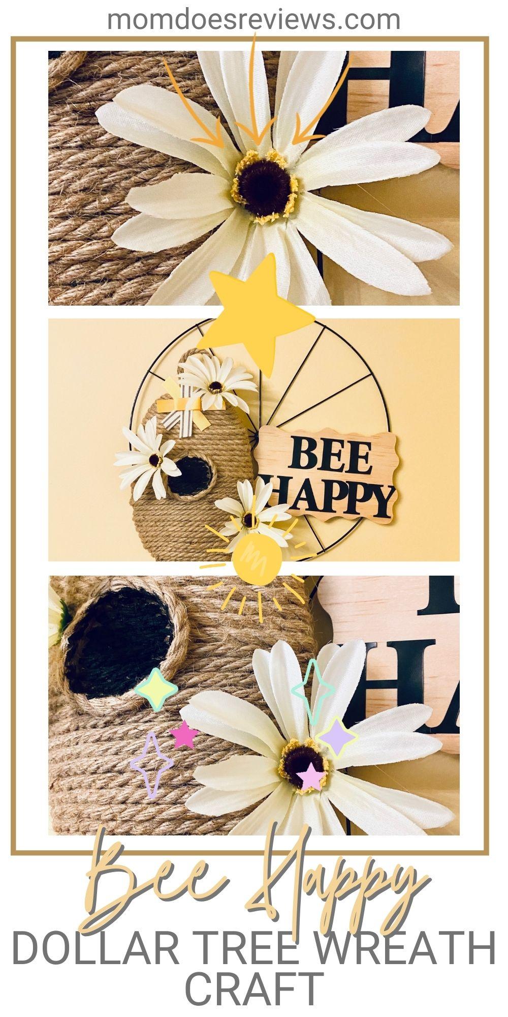 Dollar Tree Bee Happy Wreath