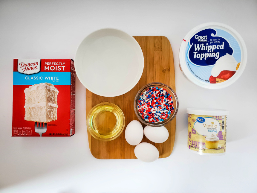 Red, White & Blue Sprinkle Explosion Cupcakes