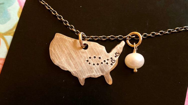 the vintage pearl miles between us necklace