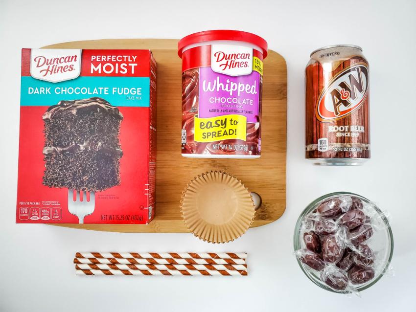 Chocolate Root Beer Float Cupcakes ingredients needed