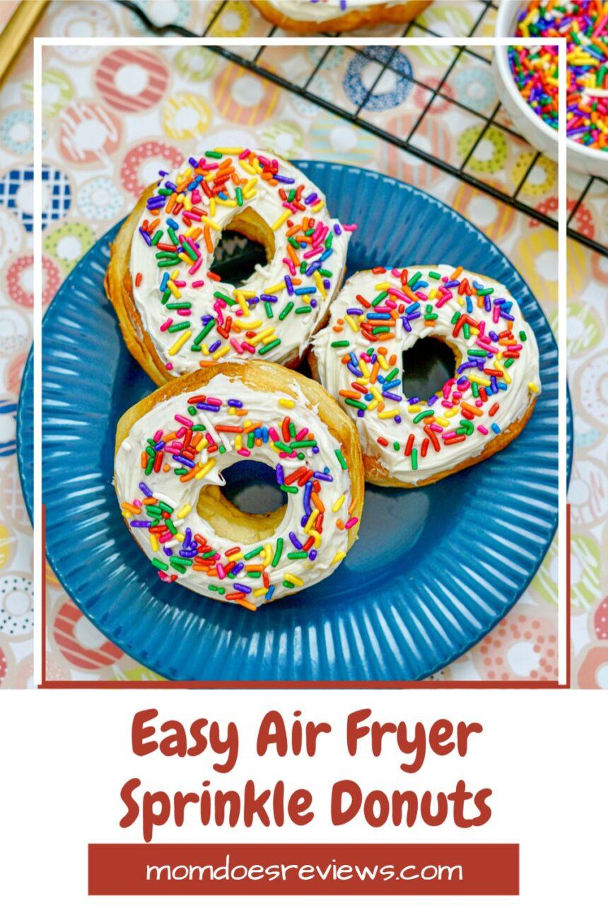 3 Ingredient Air Fryer Sprinkle Donuts #recipes #funfood #airfryerrecipe