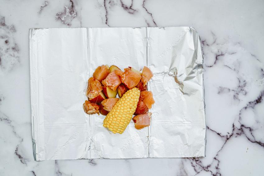 Air Fryer Ranch Chicken Foil Packs step 2
