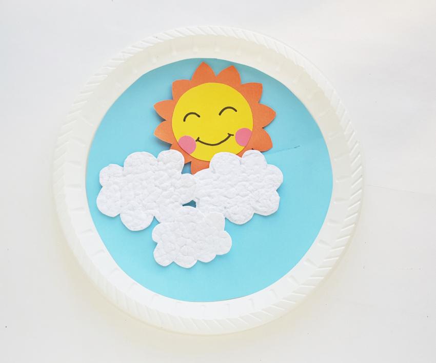 Sun Rising Paper Plate Craft process