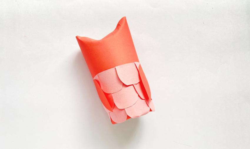 Toilet Paper Owl Craft process