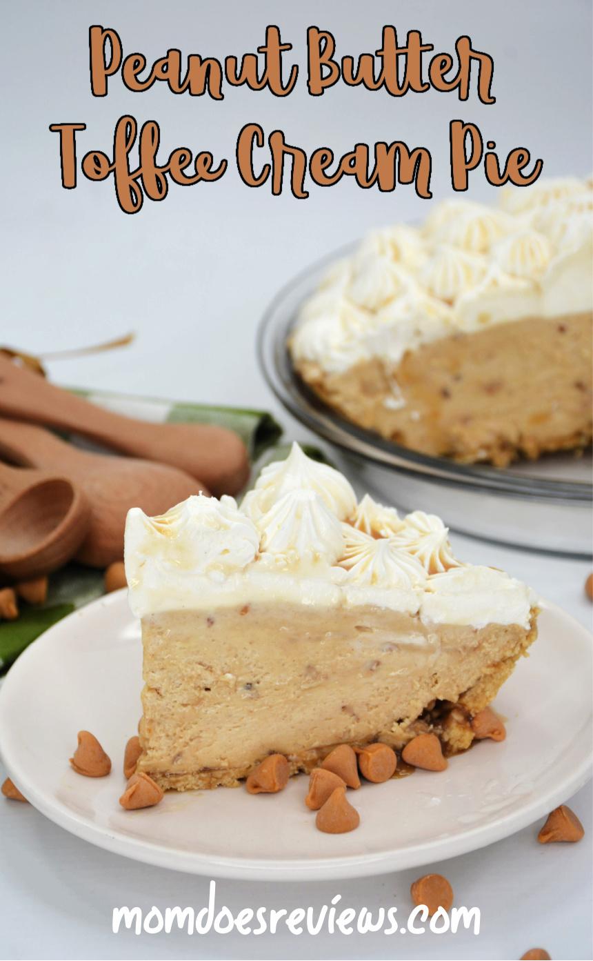 Peanut Butter Toffee Cream Pie #recipe #desserts #peanutbutter