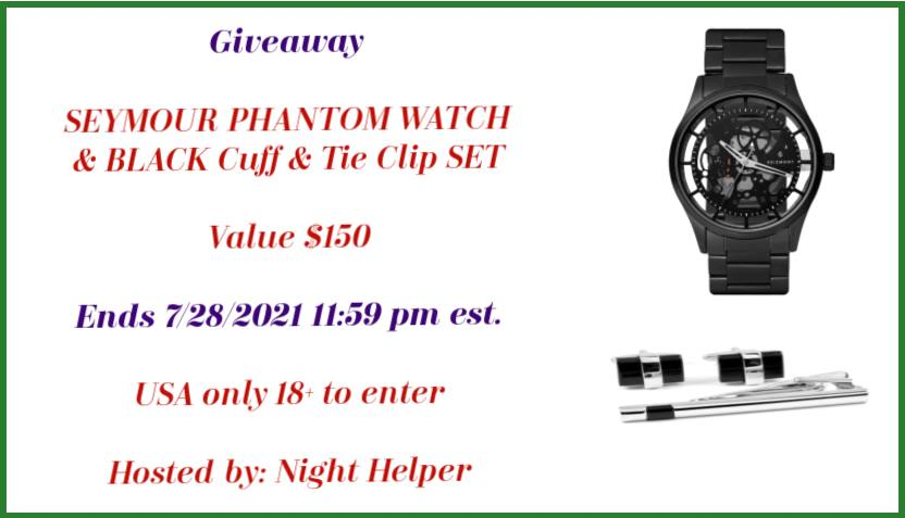 SEYMOUR PHANTOM WATCH & BLACK Cuff & Tie Clip SET