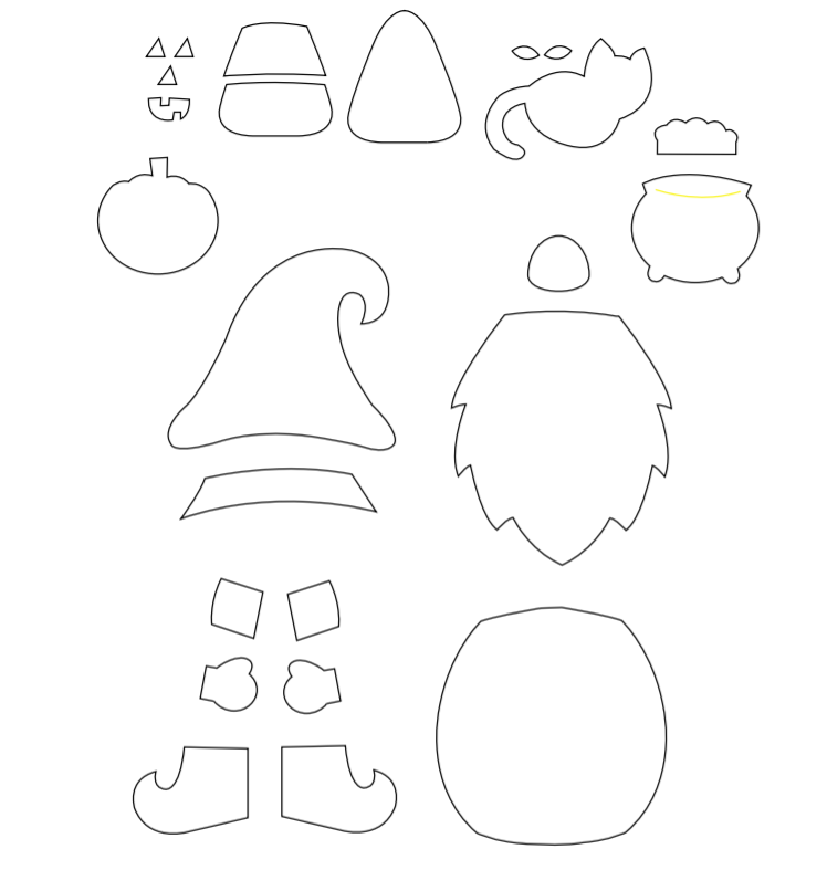 Halloween Gnome Paper Craft Template