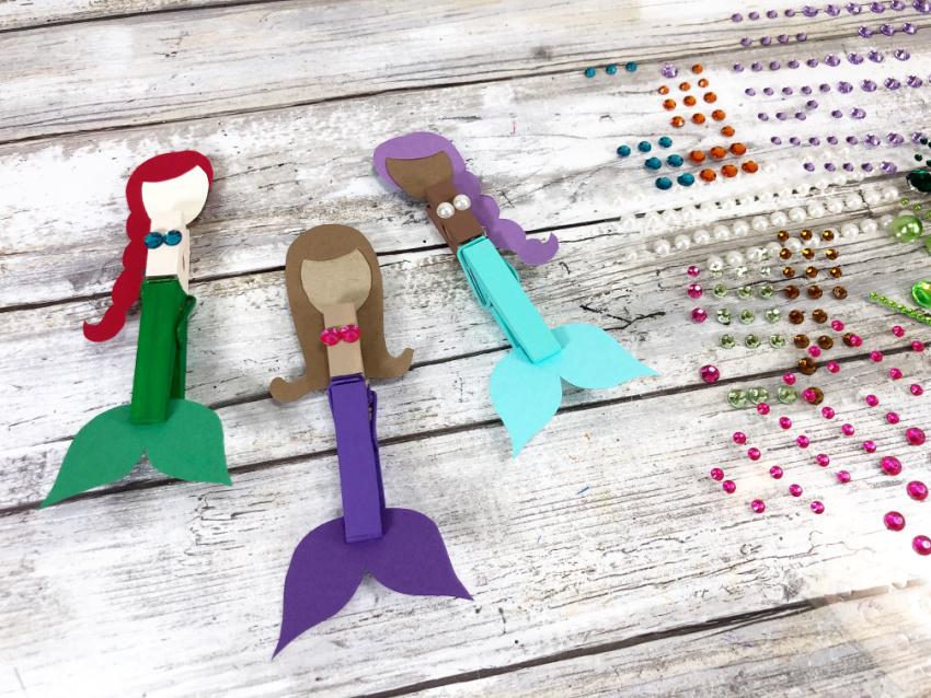 Dollar Store Clothespin Mermaid Craft process