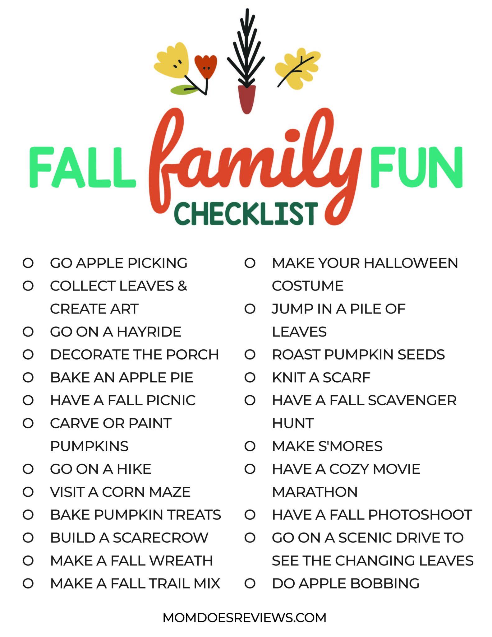 Fall Family Fun Checklist #printable
