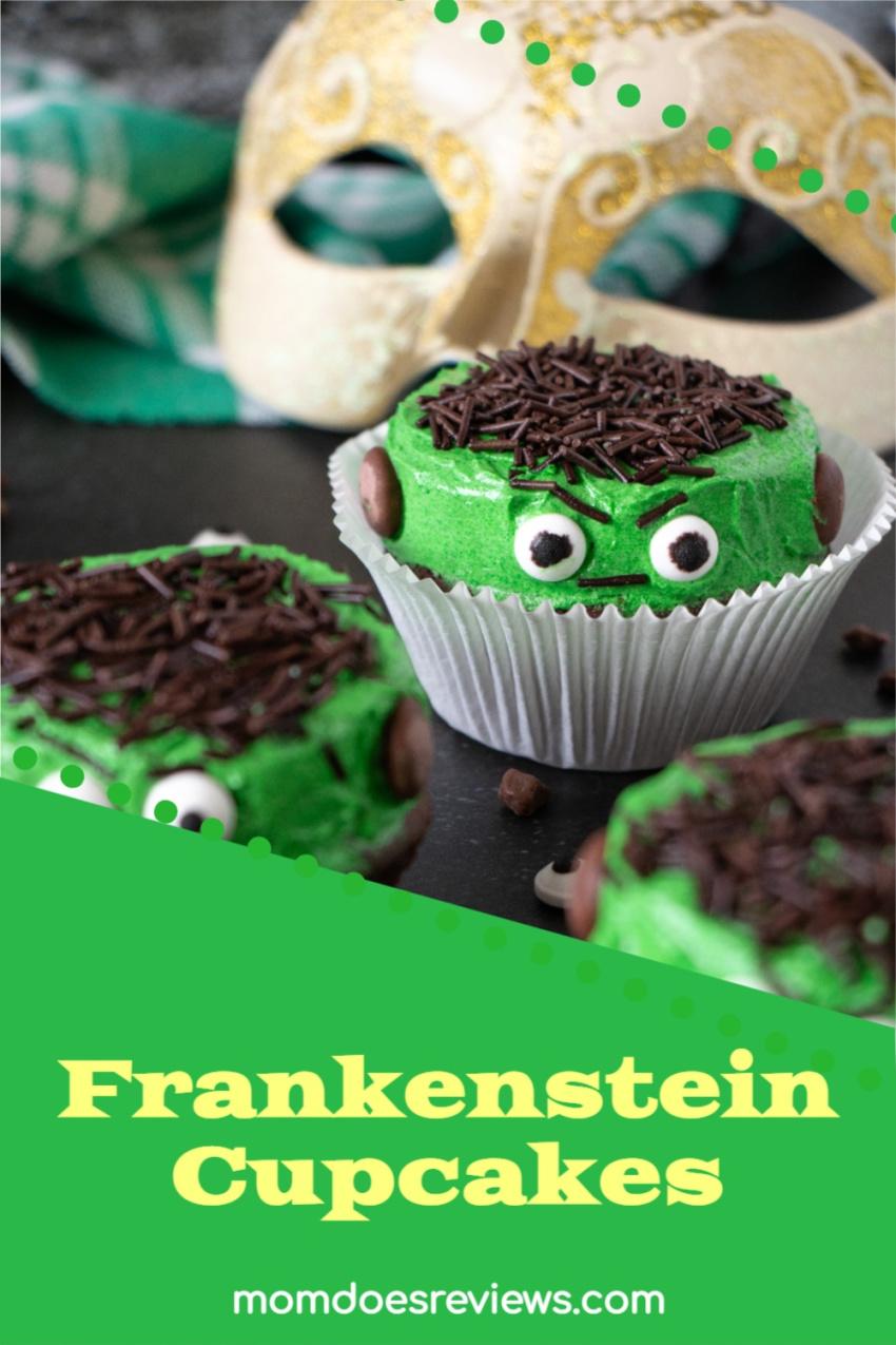Frankenstein Cupcakes #Recipe #halloween #cupcakes #funfood