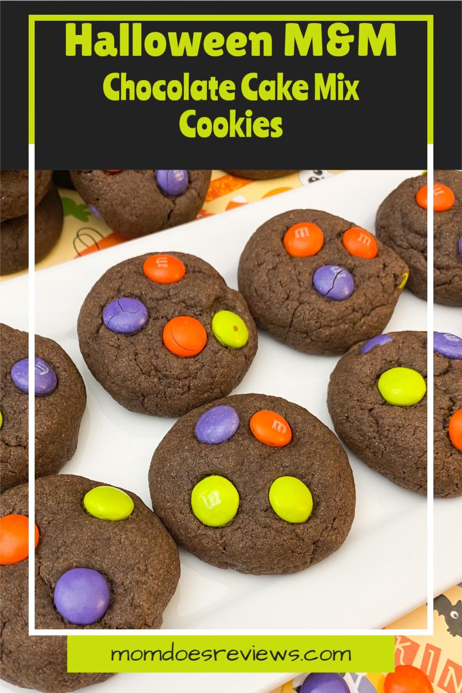 Halloween M&M Chocolate Cake Mix Cookies