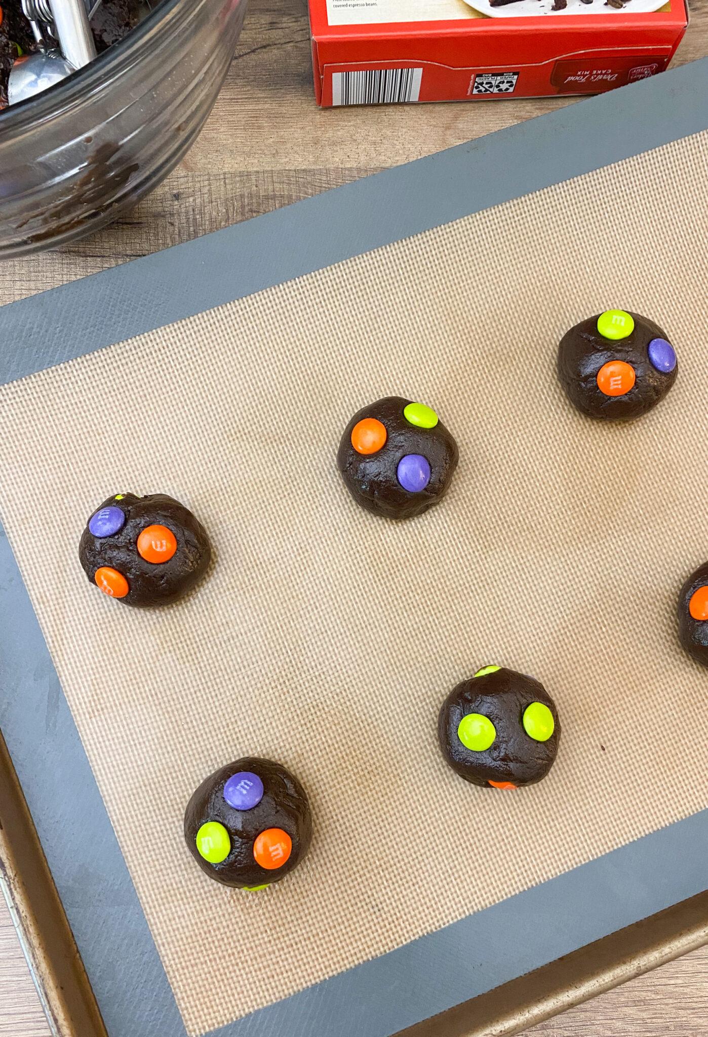 Easy Halloween M&M Chocolate Cake Mix Cookies
