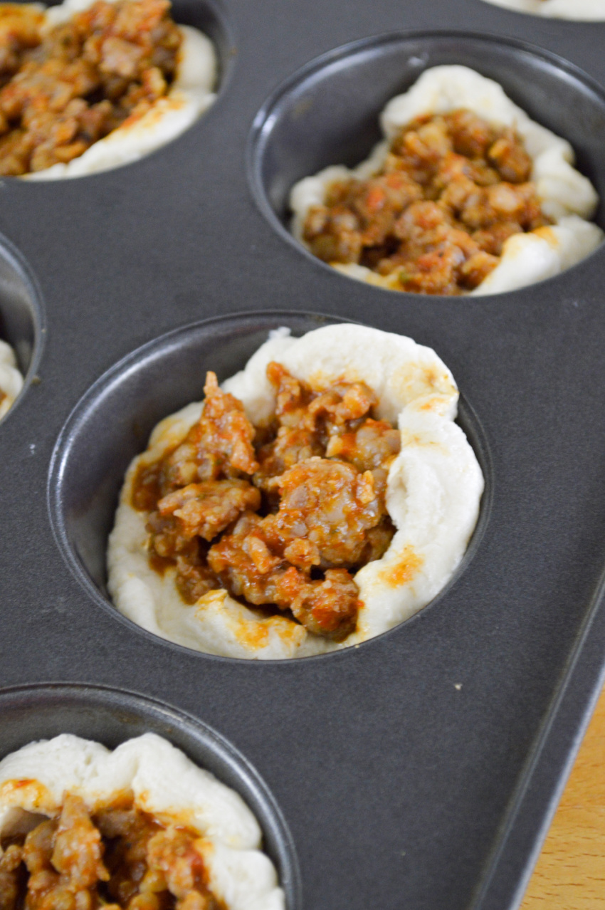 Italian Sausage Biscuit Cups process